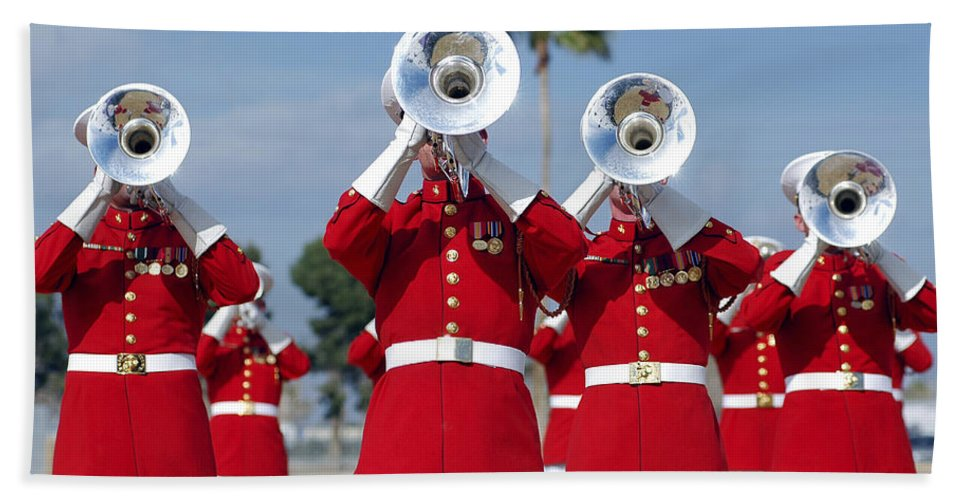 Drum And Bugle Corps Hand Towel featuring the photograph U.s. Marine Corps Drum And Bugle Corps by Stocktrek Images