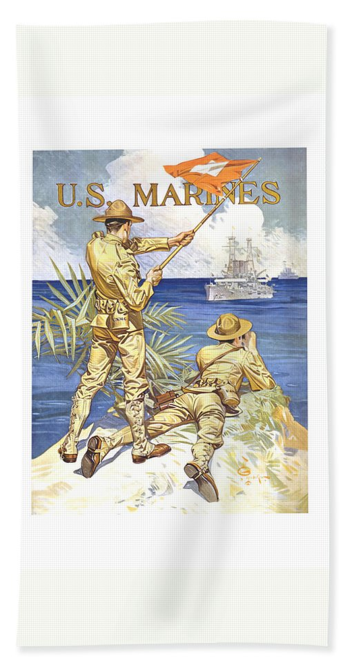 Marines Bath Towel featuring the painting Us Marines - Ww1 by War Is Hell Store