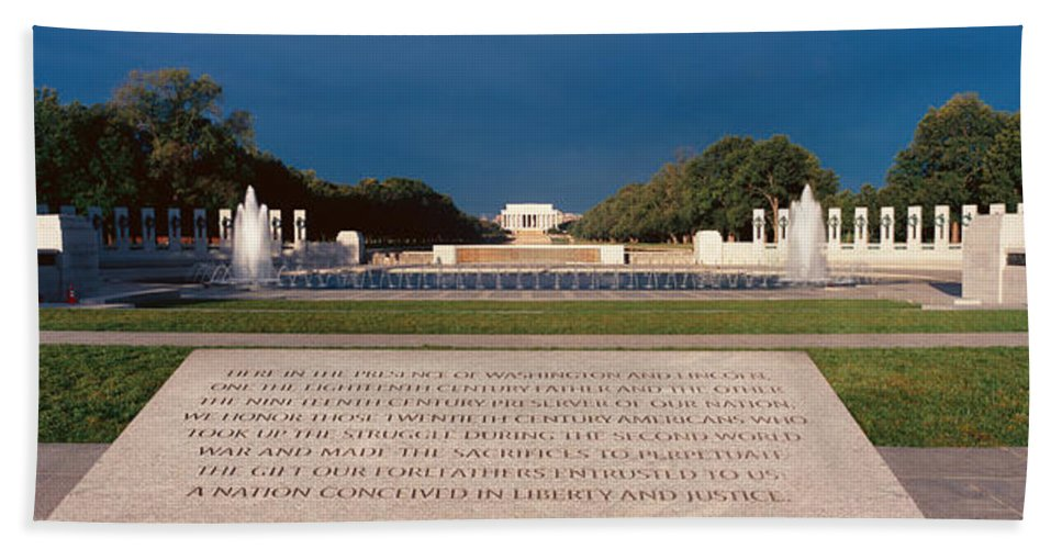 Photography Bath Sheet featuring the photograph U.s. World War II Memorial by Panoramic Images