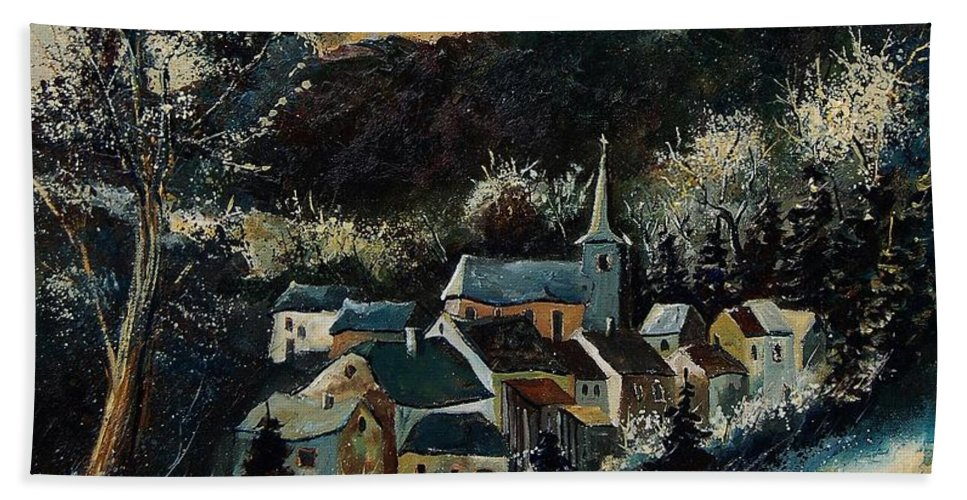Tree Hand Towel featuring the painting Vencimont 78 by Pol Ledent