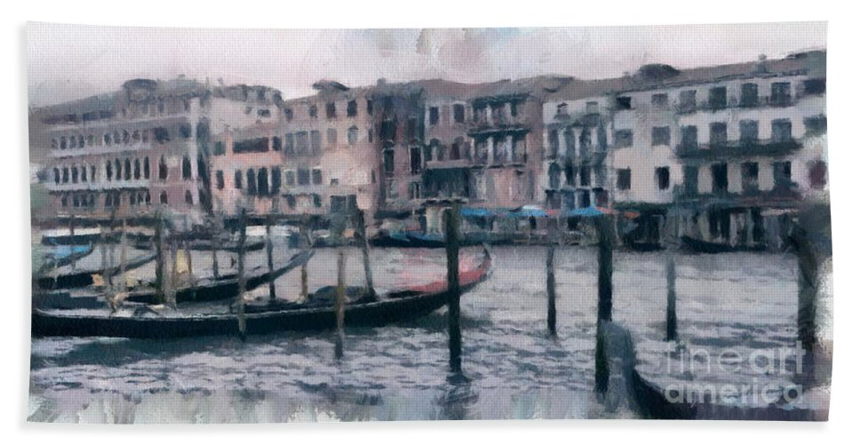 Hand Towel featuring the mixed media Venice Channels by Yury Bashkin