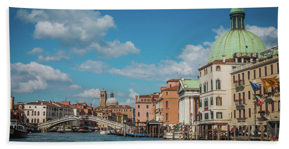 Italy Hand Towel featuring the photograph Venice Panorama by Anastacia Petropavlovskaja