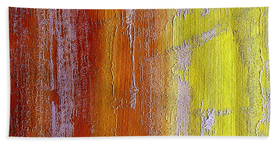 ruth Palmer Hand Towel featuring the painting Vertical Interfusion by Ruth Palmer