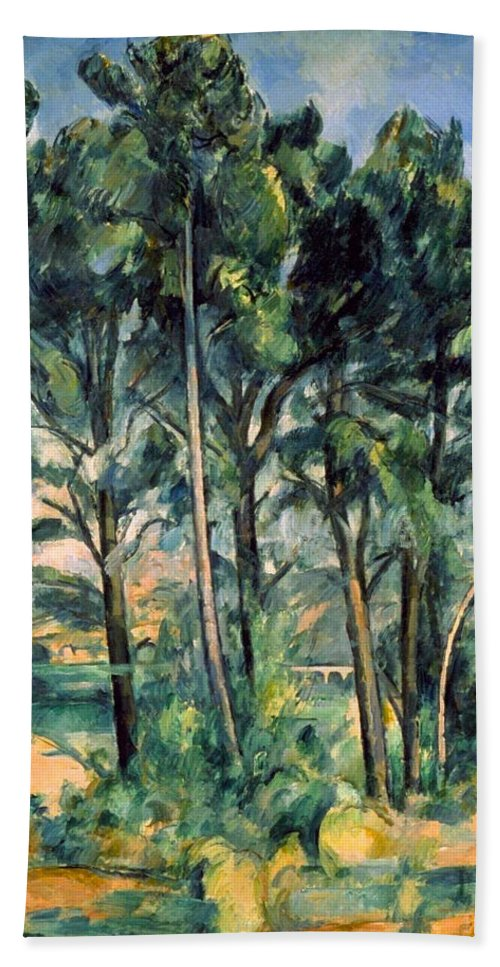 Architectural Hand Towel featuring the painting Viaduct by Paul Cezanne
