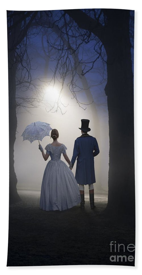 Victorian Bath Sheet featuring the photograph Victorian Couple At Night by Lee Avison