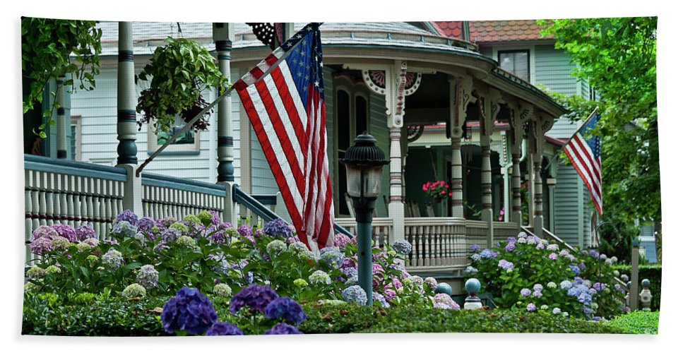 American Bath Sheet featuring the photograph Victorian House And Garden. by John Greim