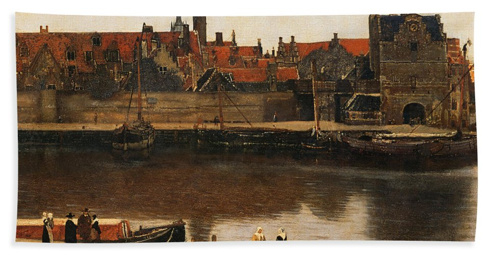 View Of Delft Hand Towel featuring the painting View Of Delft by Jan Vermeer