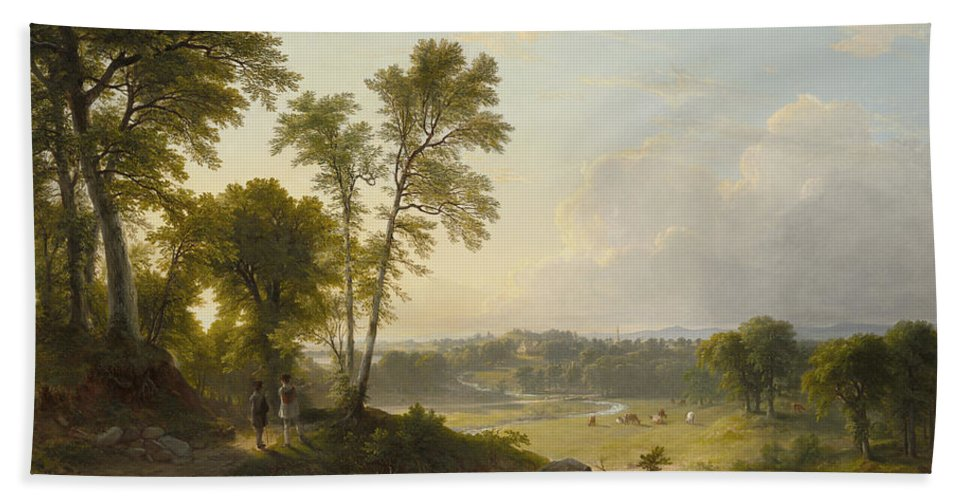 View Toward The Hudson Valley By Asher Brown Durand Bath Sheet featuring the painting View Toward The Hudson Valley by Asher Brown
