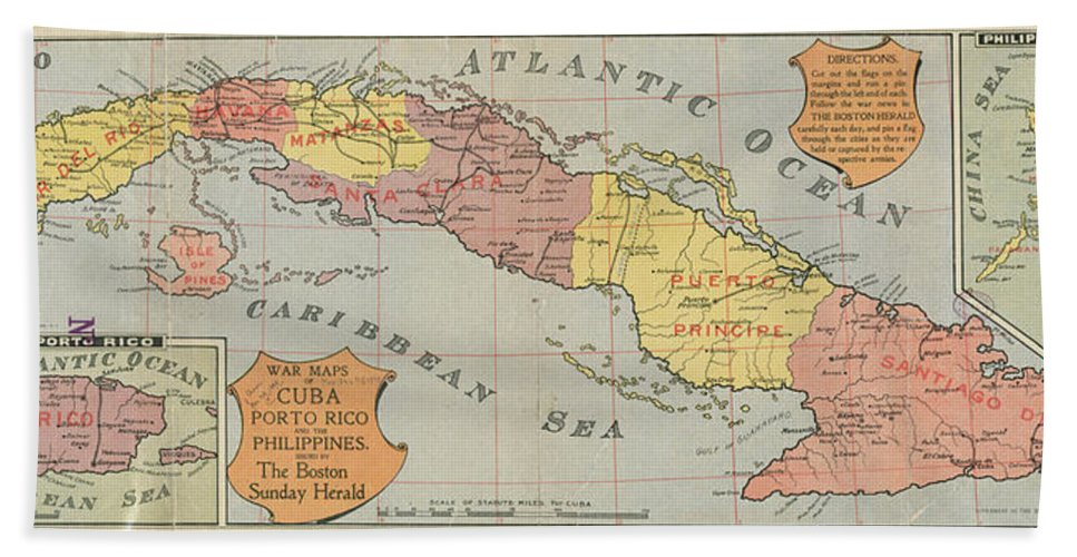 Vintage Map Of Cuba Hand Towel For Sale By CartographyAssociates - Vintage map of cuba