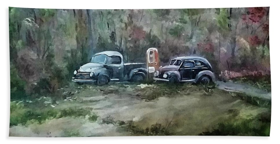 Studebaker Bath Sheet featuring the painting Vintage Vehicles by Jacqueline Whitcomb
