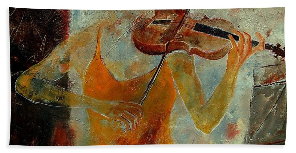 Music Hand Towel featuring the painting Violinist 67 by Pol Ledent
