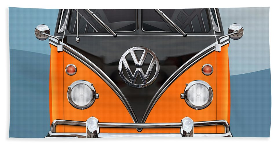 'volkswagen Type 2' Collection By Serge Averbukh Bath Towel featuring the photograph Volkswagen Type 2 - Black and Orange Volkswagen T 1 Samba Bus over Blue by Serge Averbukh