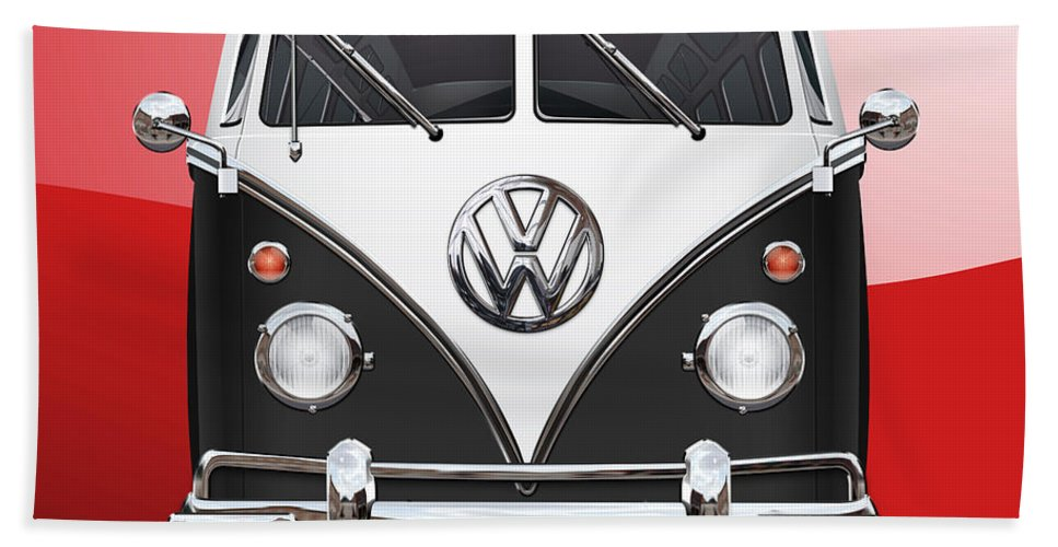 'volkswagen Type 2' Collection By Serge Averbukh Bath Towel featuring the photograph Volkswagen Type 2 - Black and White Volkswagen T 1 Samba Bus on Red by Serge Averbukh