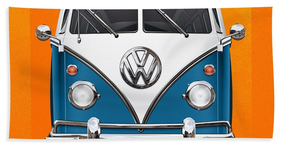 'volkswagen Type 2' Collection By Serge Averbukh Bath Towel featuring the photograph Volkswagen Type 2 - Blue and White Volkswagen T 1 Samba Bus over Orange Canvas by Serge Averbukh