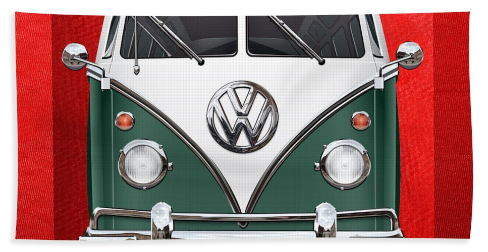'volkswagen Type 2' Collection By Serge Averbukh Bath Towel featuring the photograph Volkswagen Type 2 - Green and White Volkswagen T 1 Samba Bus over Red Canvas by Serge Averbukh