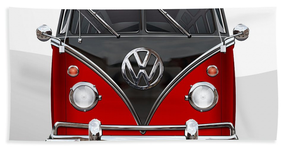 'volkswagen Type 2' Collection By Serge Averbukh Bath Towel featuring the photograph Volkswagen Type 2 - Red And Black Volkswagen T 1 Samba Bus On White 1 by Serge Averbukh