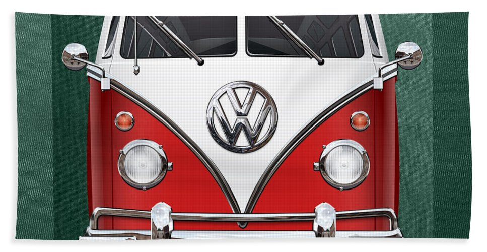 'volkswagen Type 2' Collection By Serge Averbukh Bath Towel featuring the photograph Volkswagen Type 2 - Red And White Volkswagen T 1 Samba Bus Over Green Canvas by Serge Averbukh