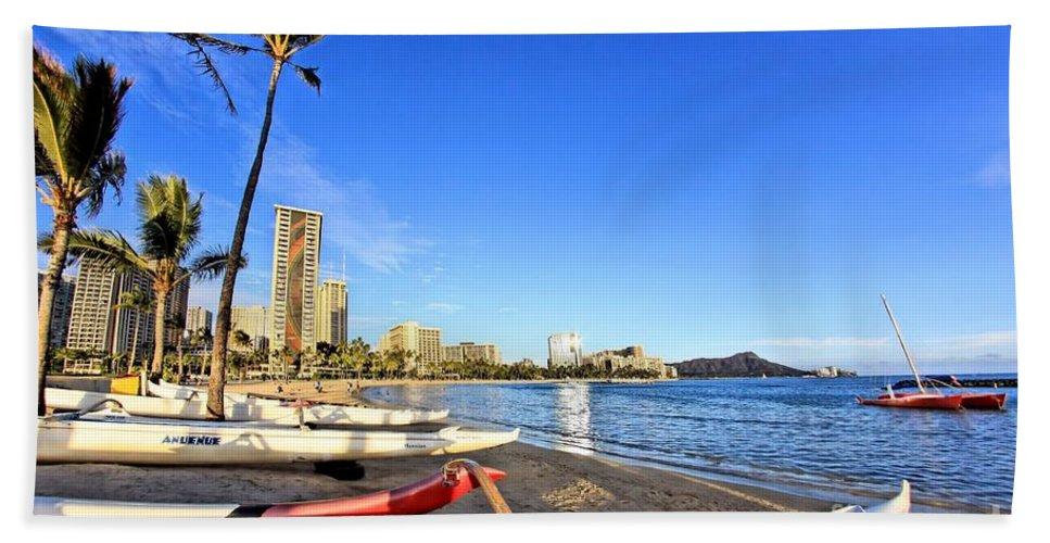Paradise Hand Towel featuring the photograph Waikiki Hawaii by DJ Florek