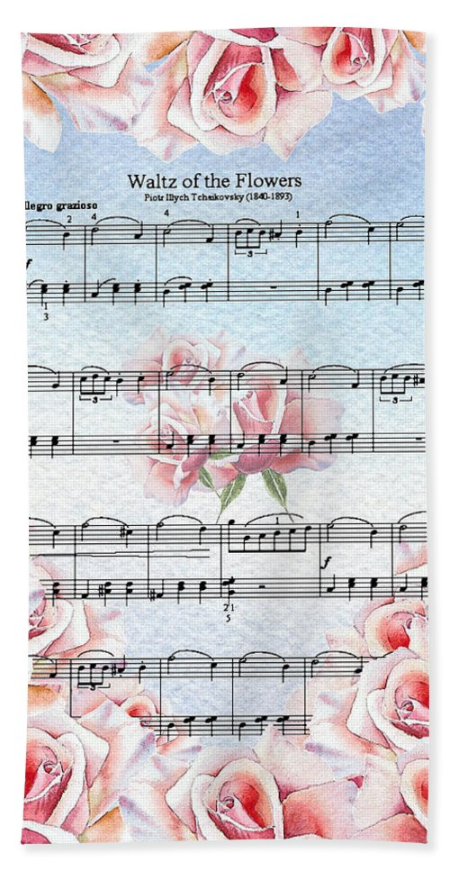 Waltz Hand Towel featuring the painting Waltz Of The Flowers Pink Roses by Irina Sztukowski