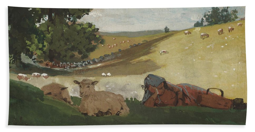 Warm Afternoon (shepherdess) By Winslow Homer Bath Sheet featuring the painting Warm Afternoon by Winslow Homer