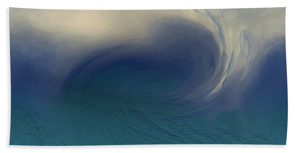 Abstract Wave Blue White Bath Towel featuring the digital art Water And Clouds by Linda Sannuti