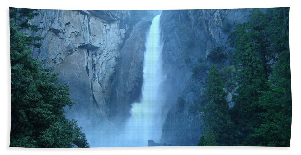 Water Hand Towel featuring the photograph Waterfall In The Mountains by FL collection