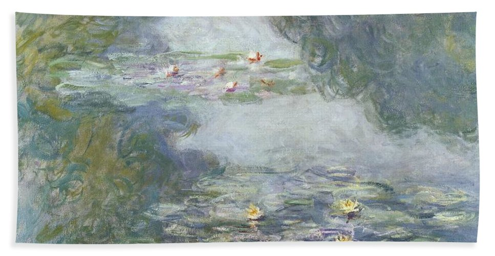 Pads Bath Towel featuring the painting Waterlilies by Claude Monet