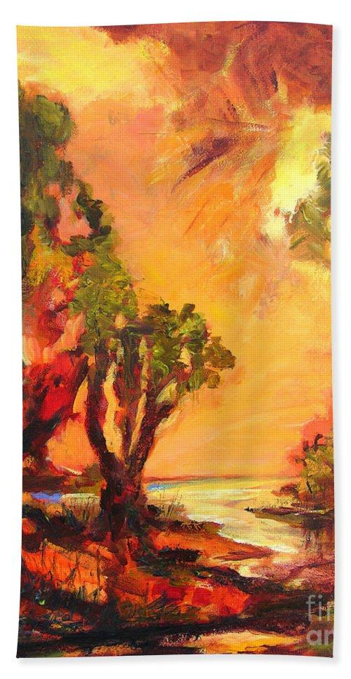 Framed Landscape Prints Bath Sheet featuring the painting Waterway by Julianne Felton