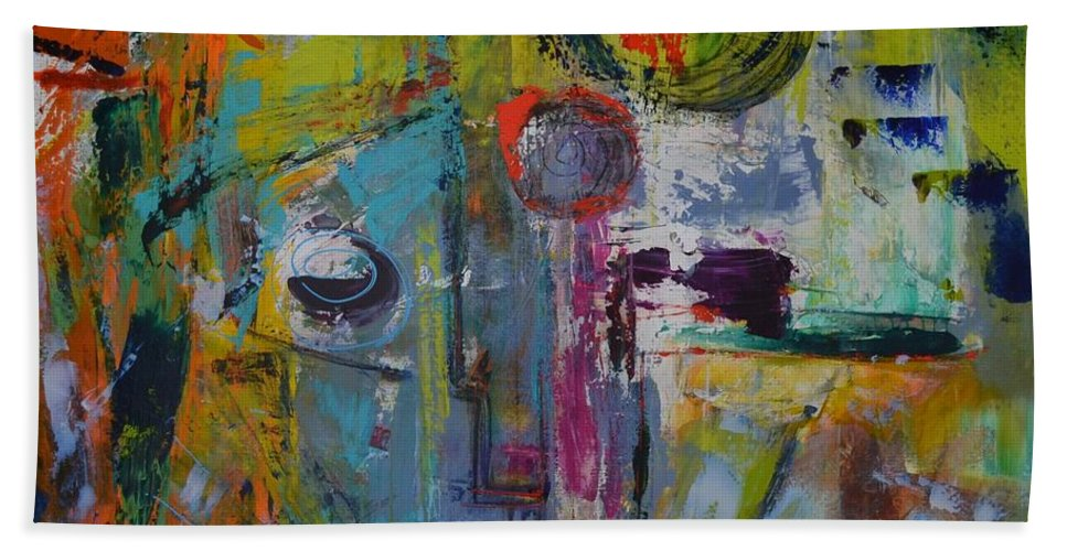 Abstract Bath Sheet featuring the painting Sold We Need To Talk by MarianneB Van der Haar