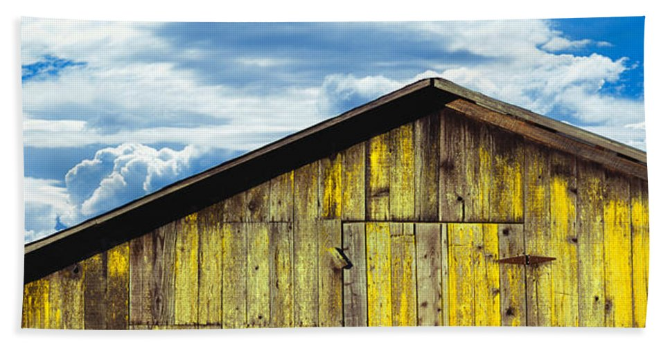 Photography Bath Sheet featuring the photograph Weathered Wooden Barn, Gaviota, Santa by Panoramic Images