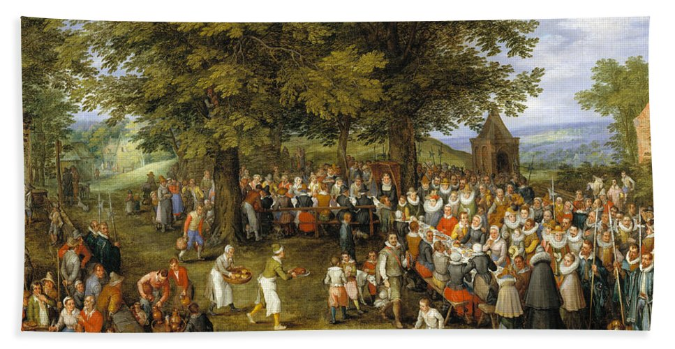 Baroque Hand Towel featuring the painting Wedding Banquet Presided Over By The Archduke And Infanta by Jan Brueghel the Elder