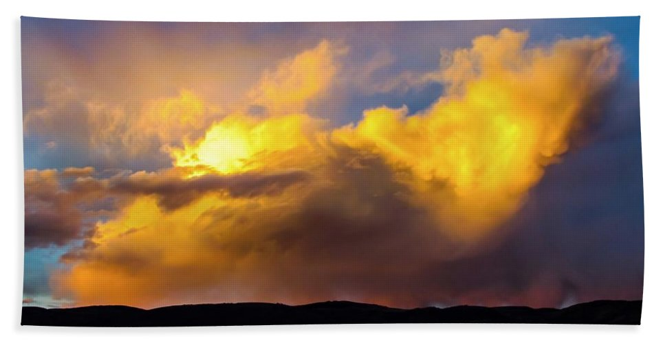 When God Picks Up A Paintbrush Bath Sheet featuring the photograph When God Picks Up A Paintbrush... by LeAnne Perry