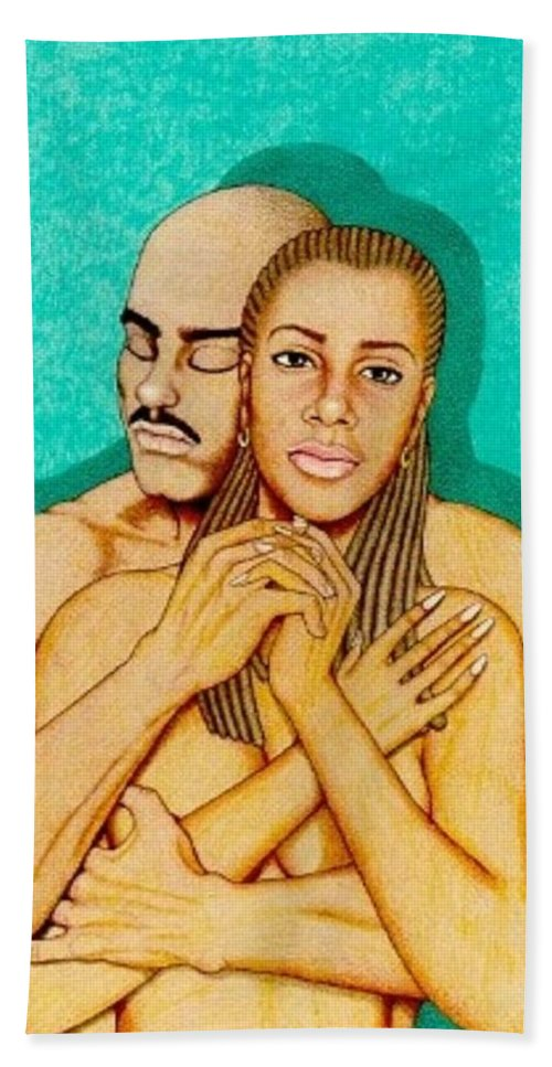 Romance Bath Sheet featuring the drawing Where Umoja Begins by Jay Thomas II
