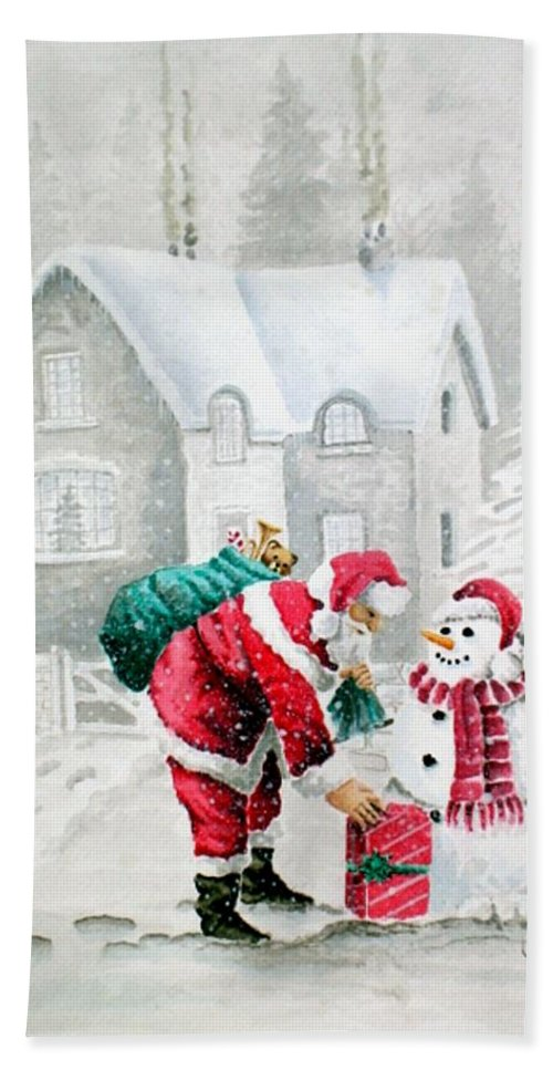 Christmas Bath Sheet featuring the painting White Christmas by Jimmy Smith