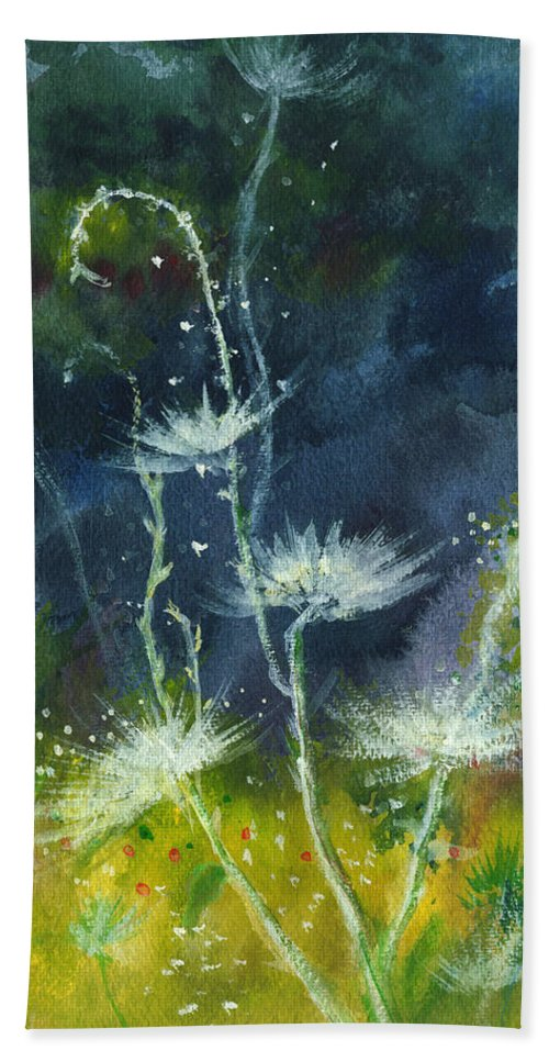 Floral Hand Towel featuring the painting White Flowers 2 by Anil Nene