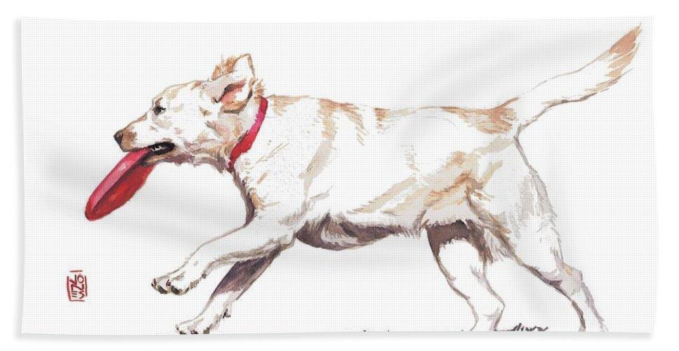Retriever Art Bath Sheet featuring the painting White Frisbee Dog by Debra Jones