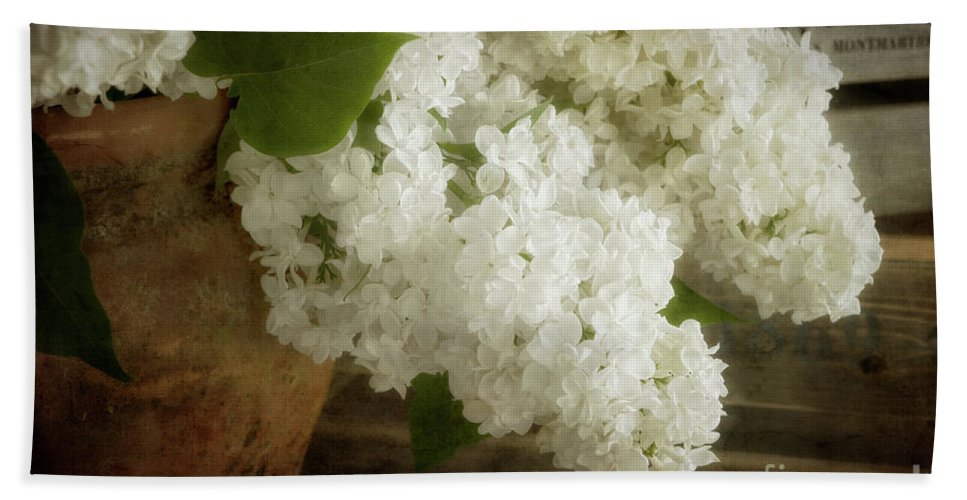 White Lilac Bath Sheet featuring the photograph White Lilac by Ann Garrett