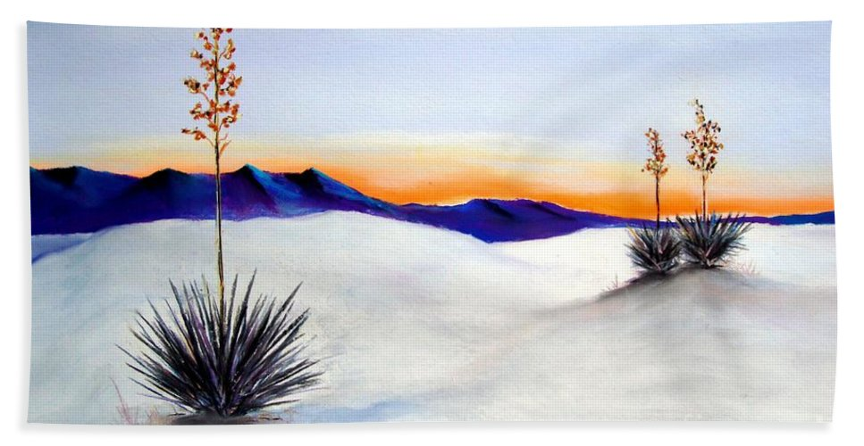 White Sands Hand Towel featuring the painting White Sands by Melinda Etzold
