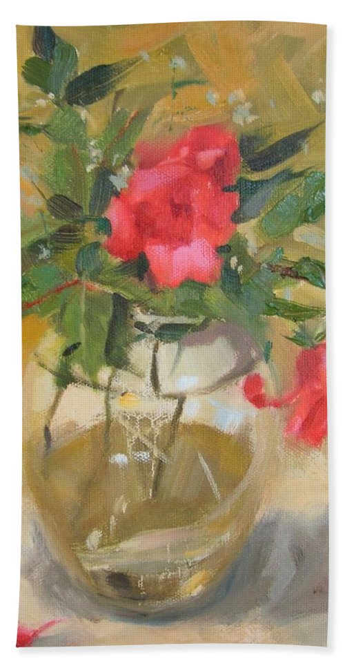Wild Roses Hand Towel featuring the painting Wild Roses by Margaret Aycock