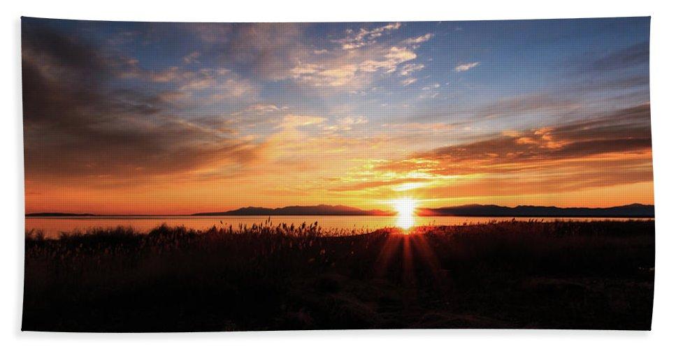Trailsxposed Bath Sheet featuring the photograph Willard Bay Sunset by Gina Herbert