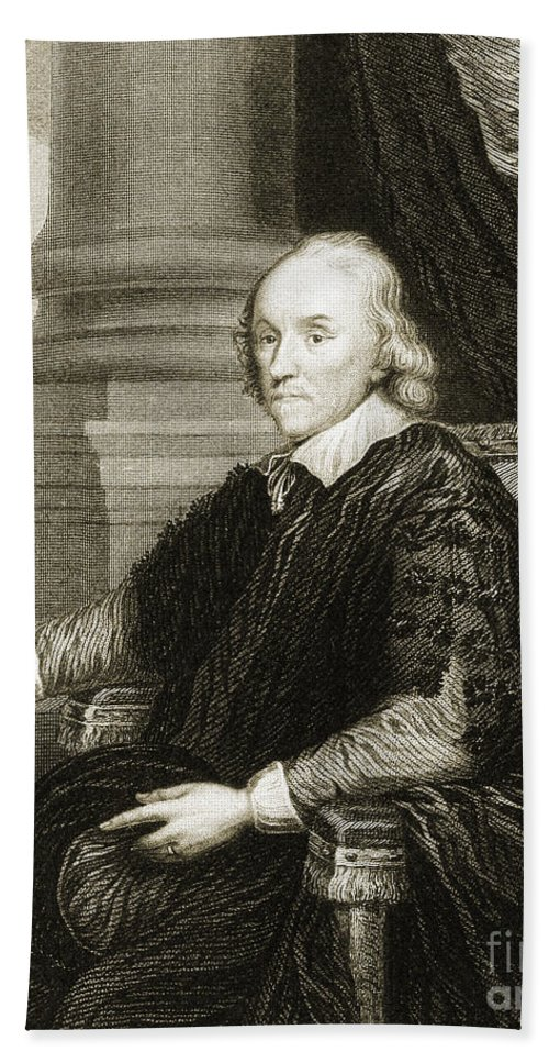 Science Hand Towel featuring the photograph William Harvey, English Physician by Wellcome Images