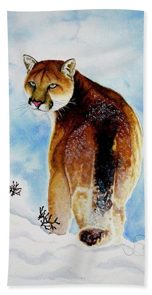 Cougar Bath Sheet featuring the painting Winter Cougar by Jimmy Smith