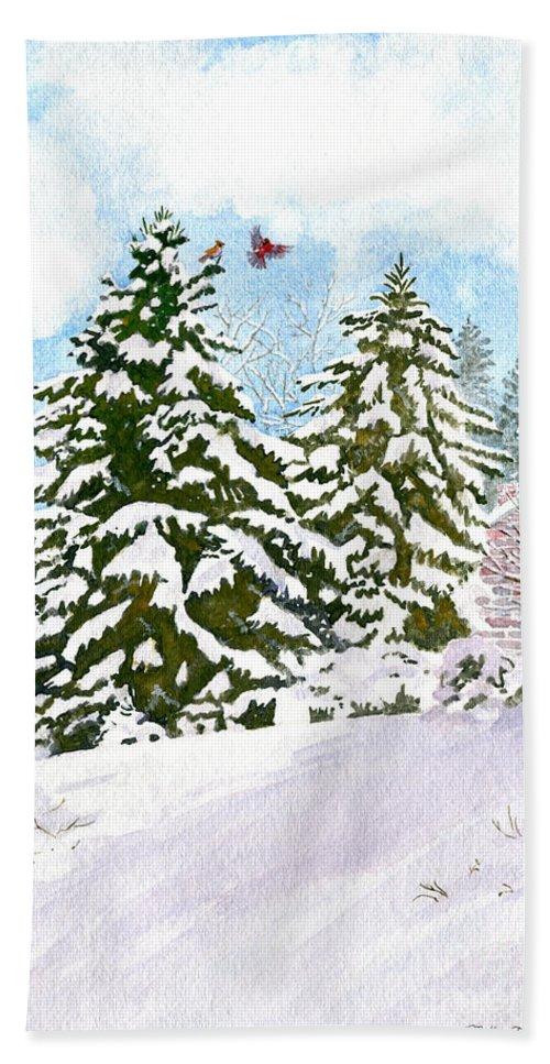 Winter Delight Hand Towel featuring the painting Winter Delight by Melly Terpening