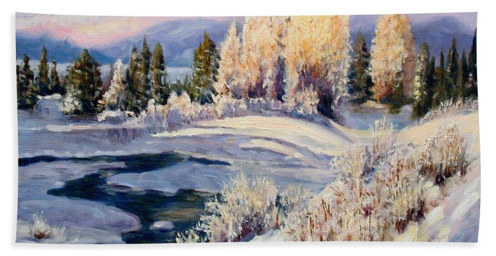 Winter Bath Sheet featuring the painting Winter by Elena Sokolova