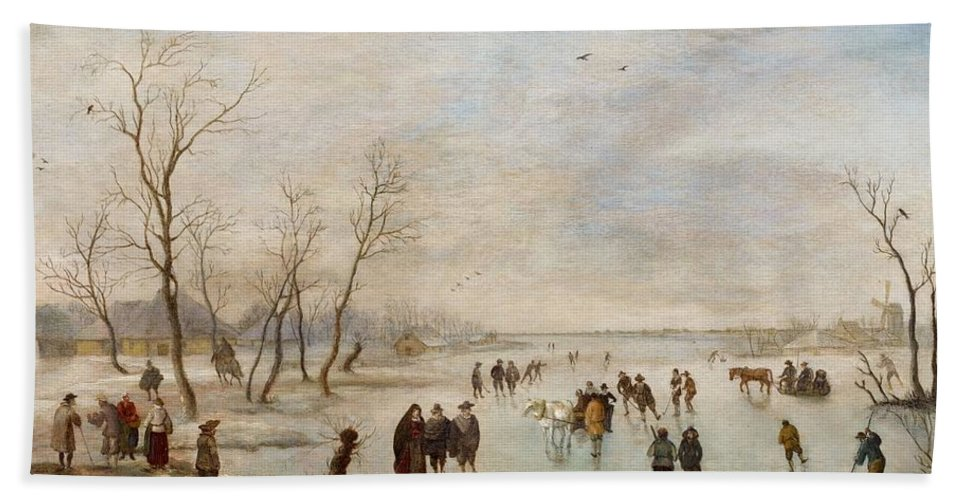 Anthonie Verstralen Bath Sheet featuring the painting Winter Landscape by Anthonie Verstralen