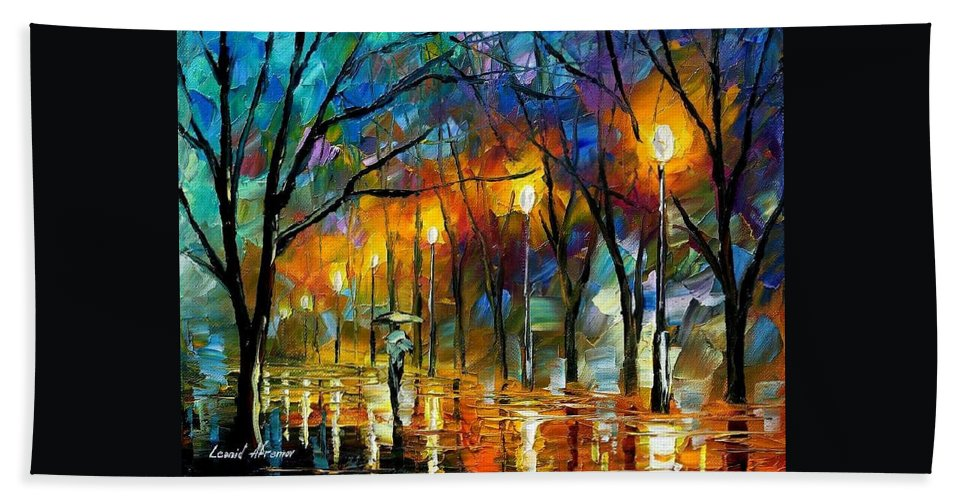 Landscape Bath Sheet featuring the painting Winter by Leonid Afremov