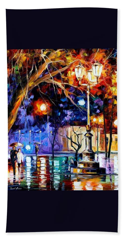 Afremov Bath Sheet featuring the painting Winter Rain by Leonid Afremov