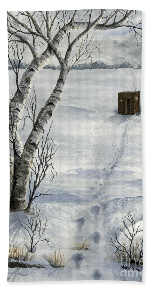 Fishing Bath Sheet featuring the painting Winter Splendor by Mary Tuomi