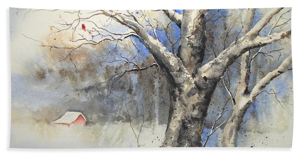 Tree Hand Towel featuring the painting Winter Tree by Sam Sidders