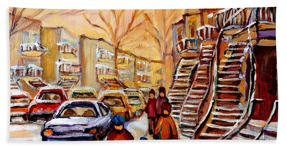 Montreal Bath Sheet featuring the painting Winter Walk In Montreal by Carole Spandau